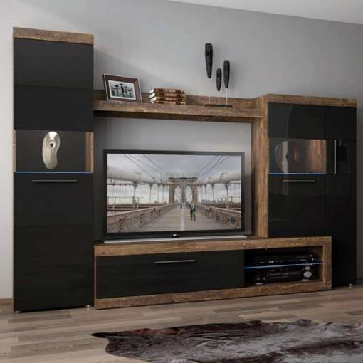 Wall Unit SICILY 100 Hidalgo / Black Gloss
