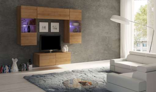 Living Room Furniture Set COLAMBRINI 10 Gold Oak