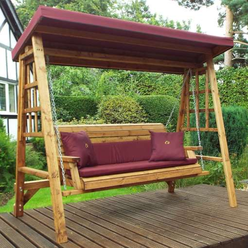 Dorset three seater swing burgundy