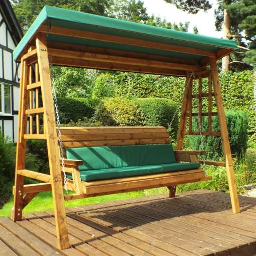 Dorset 3 seat swing in green