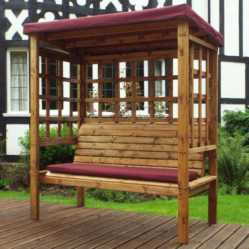 Bramham three seater arbour burgundy