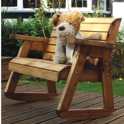 Children's wooden bench rocker