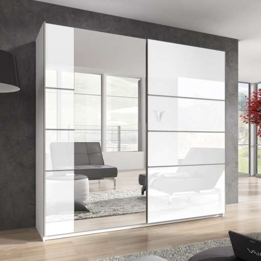 Wardrobe GAMMA 221 White / white gloss + mirror